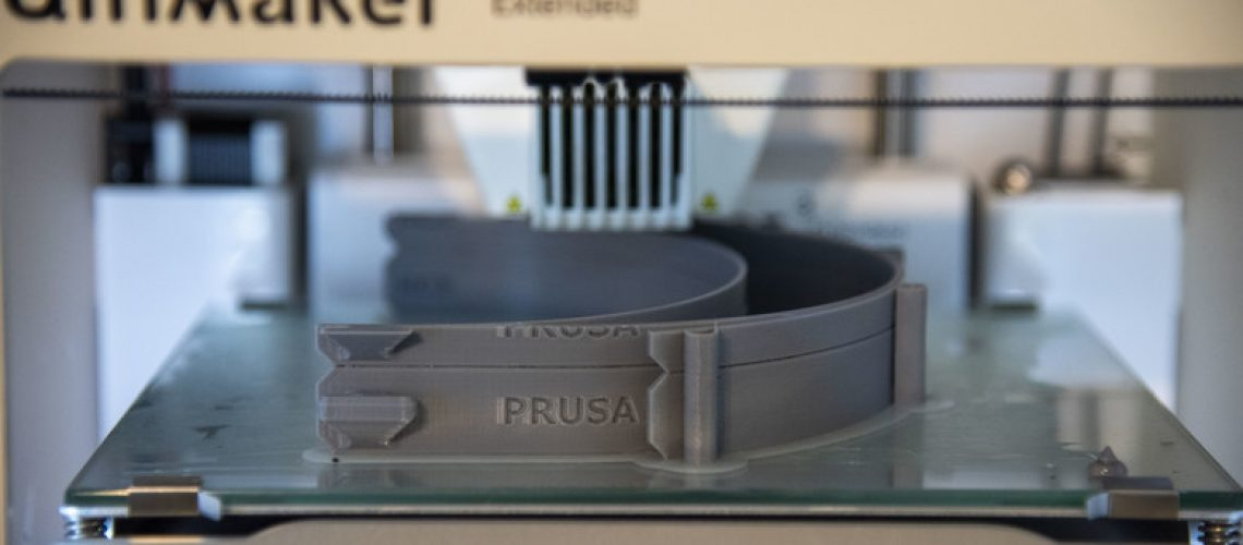 A 3D printer creates face shield adjustable headbands on April 7, 2020 at Dover Air Force Bace, Delaware. The face shields were printed by the 436th Airlift Wing Innovation Lab
